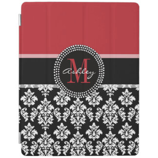 Black Damask Red Initial Name iPad Cover