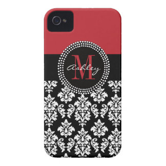 Black Damask Red Initial Name iPhone 4 Case-Mate Cases