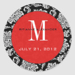 Black Damask Red Monogram Wedding Sticker