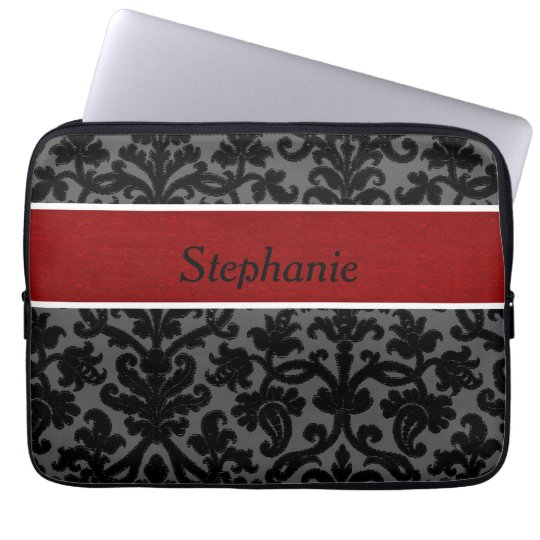 Black Damask Red Stripe Personalised Laptop Sleeve