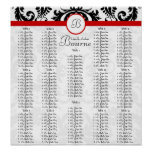 Black Damask Red Trim Seating Chart Table Numbers