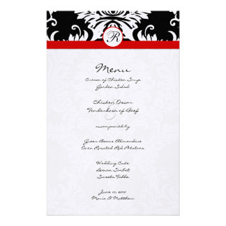 Black Damask Red Trim Wedding Menu