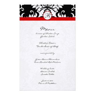 Black Damask Red Trim Wedding Menu Personalized Stationery