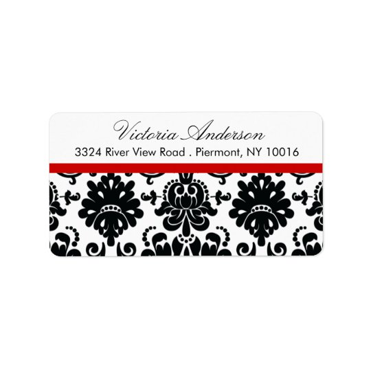 Black Damask Return Address Labels. Address Label
