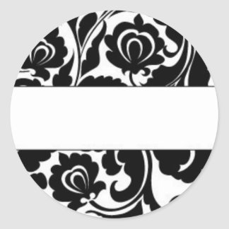 Black Damask Return Address Round Sticker