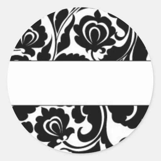 Black Damask Return Address Stickers