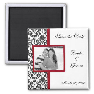 Black Damask Save the Date Photo Magnets