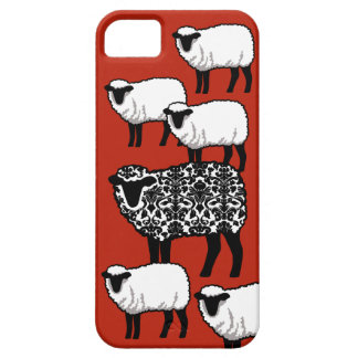 Black Damask Sheep on Red iPhone 5 Cover