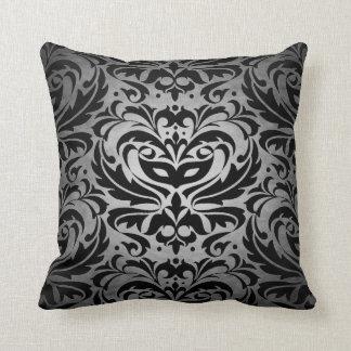 Black Damask Silver Scroll Reversible  Pillow