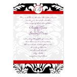 Black Damask Swirls Red Trim Purple Font Wedding