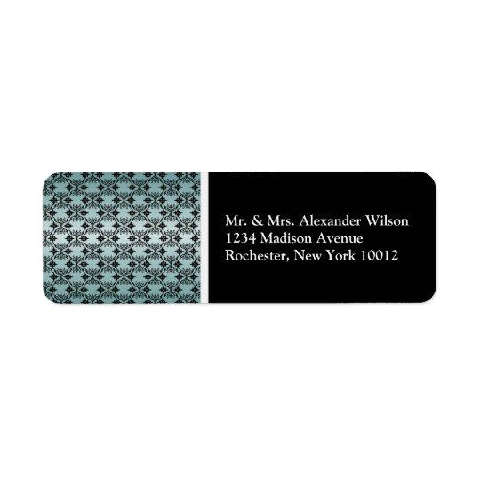 Black Damask Teal & Black Address Labels