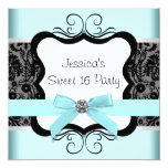 Black Damask Teal Black Sweet 16 Birthday Party