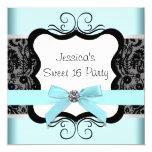 Black Damask Teal Black Sweet 16 Birthday Party 13 Cm X 13 Cm Square Invitation Card