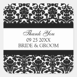 Black Damask Thank You Wedding Favor Tags