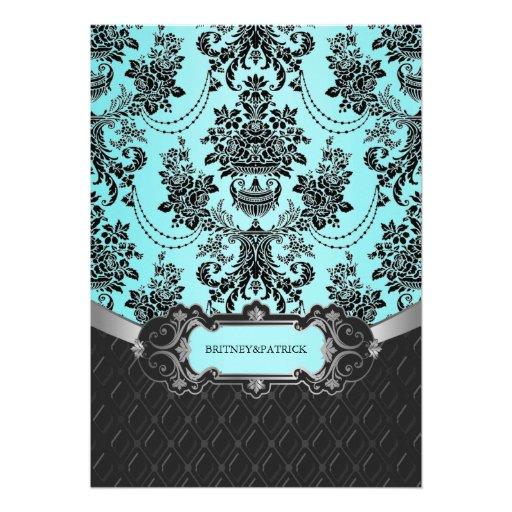 Tiffany Blue And Black Wedding Ideas: Black Damask Blue Wedding Invitations 13 Cm X 18 Cm