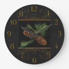 Black Damask Watercolor Pine Cones Large Clock