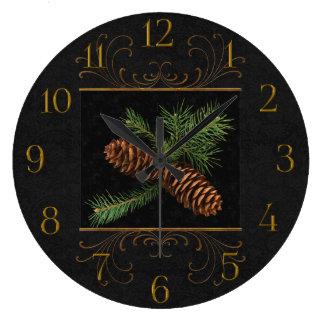 Black Damask Watercolor Pine Cones Large Clock