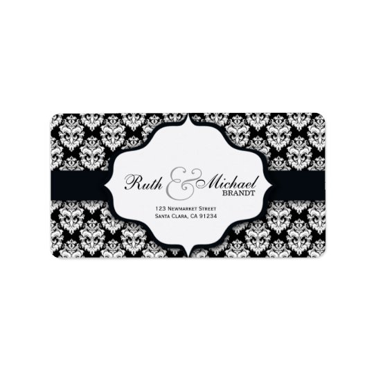 Black Damask - Wedding labels
