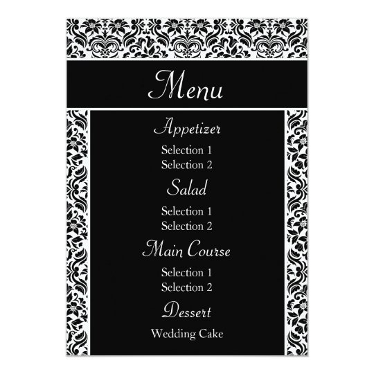Black Damask Wedding Reception Dinner Menu Card