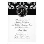 Black Damask Wedding Reception, for Square Card Personalized Announcement