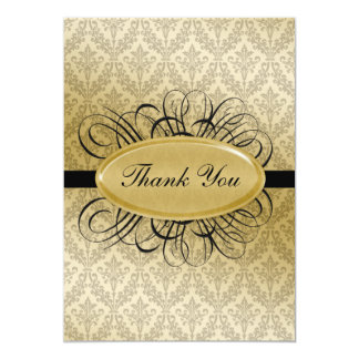 black  damask wedding ThankYou Cards