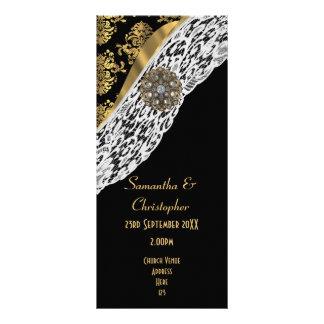 Black damask white lace church wedding program rack card