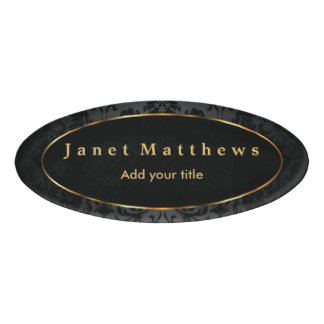 Black Damask with Gold Trim Design Name Tag