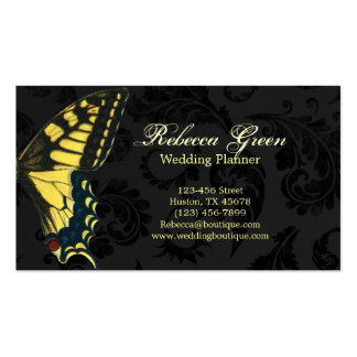 Black damask Yellow Butterfly fashion Business Cards