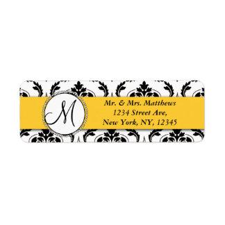 Black Damask Yellow Monogram Return Address Return Address Label