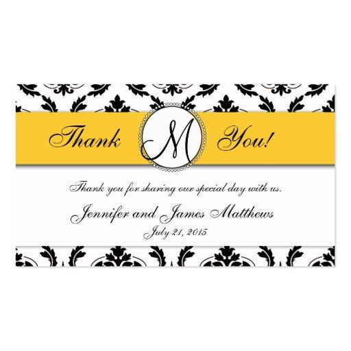 Black Damask Yellow Wedding Favor Card Business Cards
