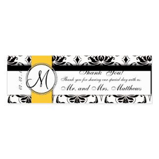 Black Damask Yellow Wedding Favor Tag Business Card Template