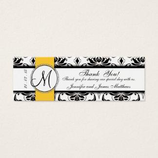 Black Damask Yellow Wedding Favor Tag Mini Business Card