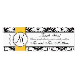 Black Damask Yellow Wedding Favor Tag Pack Of Skinny Business Cards