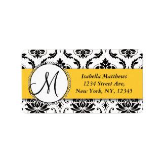 Black Damask Yellow Wedding RSVP Return Address Address Label