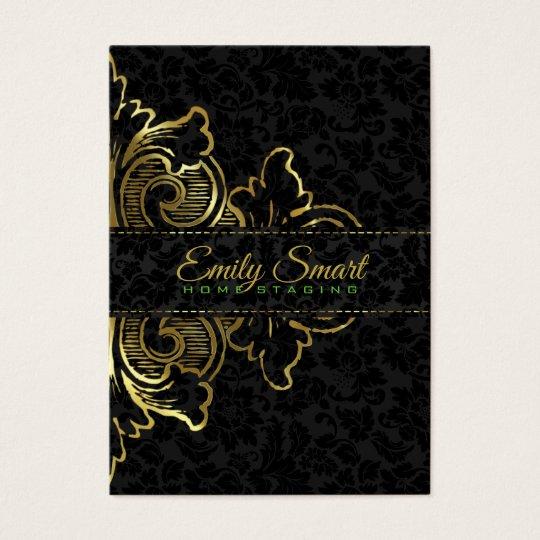 Black Damasks Gold Floral Ornament Business Card