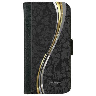 Black Damasks Silver & Gold Accents iPhone 6 Wallet Case