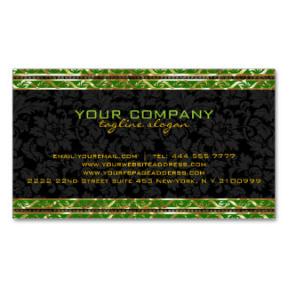 Black Damasks With Green And Gold Retro Border Magnetic Business Cards