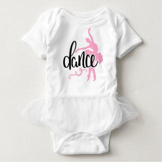 Black Dance / Carnation Pink Pointe Ballet Dancer Baby Bodysuit