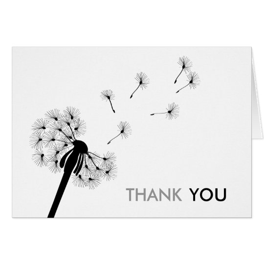 Black Dandelion Thank You Cards