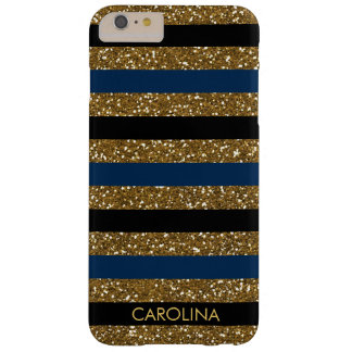 Black, Dark Blue & Gold Glitter, Personalised Barely There iPhone 6 Plus Case