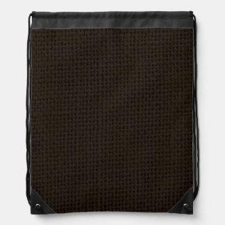 Black dark burlap jute photo realistic backpacks