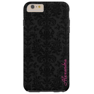 Black & Dark Gray Vintage Floral Damasks Tough iPhone 6 Plus Case
