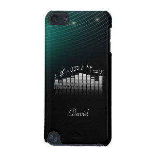 Black Dark Green Bg with Cool Sound Wave Music iPod Touch (5th Generation) Case