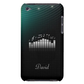 Black Dark Green Bg with Cool Sound Wave Music iPod Touch Cases