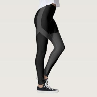 Black Dark Grey Contrast Polygonal Yoga Leggings
