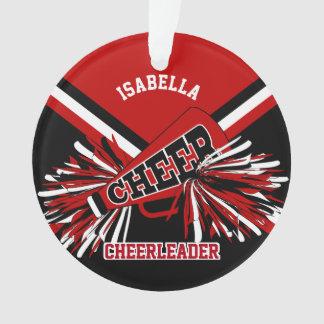 Black, Dark Red and White Cheerleader Ornament