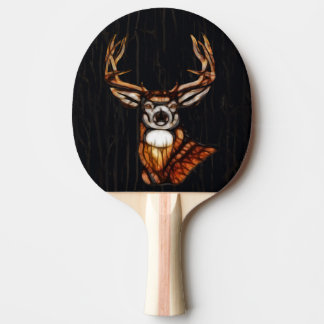 Black Dark Wooden Wood Deer Rustic Country Unique Ping Pong Paddle