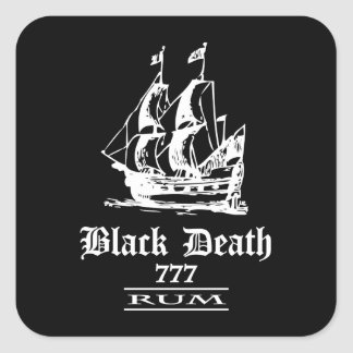 Black Death 777 - Ol Ships Rum Square Sticker