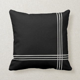 Black Deco White Stripe Cushion