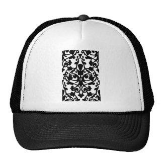 Black Decorative Damask Stamp w Botanical Pattern Trucker Hat